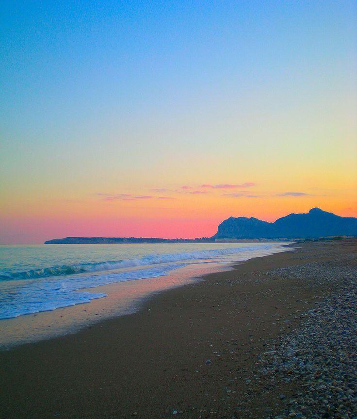 Sunset at Afantou beach on Rhodes island, Aegean_ Greece