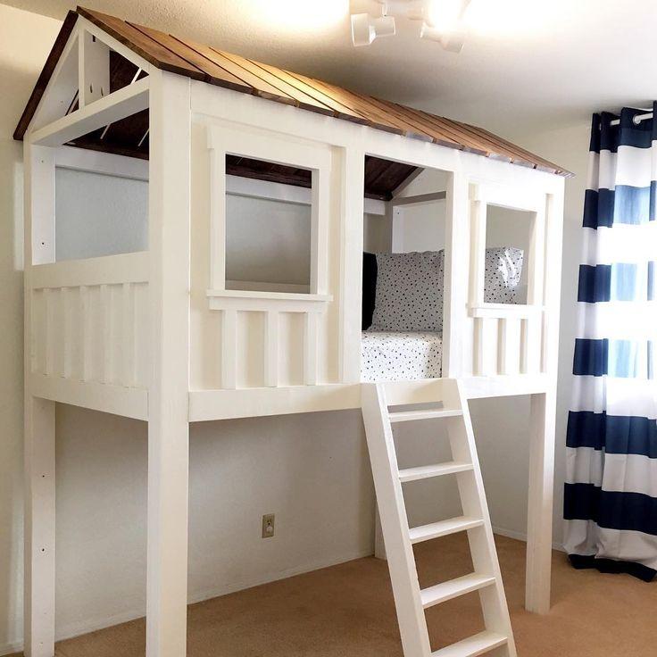 Loft bed modified from plan http://www.ana-white.com/2016/01/free_plans/cabin-bed-jen-woodhouse Karen Bennett (@kindandkaren) • Instagram