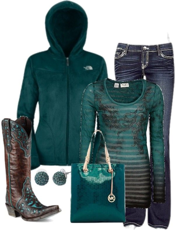 """""""Western"""" by honeybee20 on Polyvore love the boots and jeans maybe a different colored purse."""