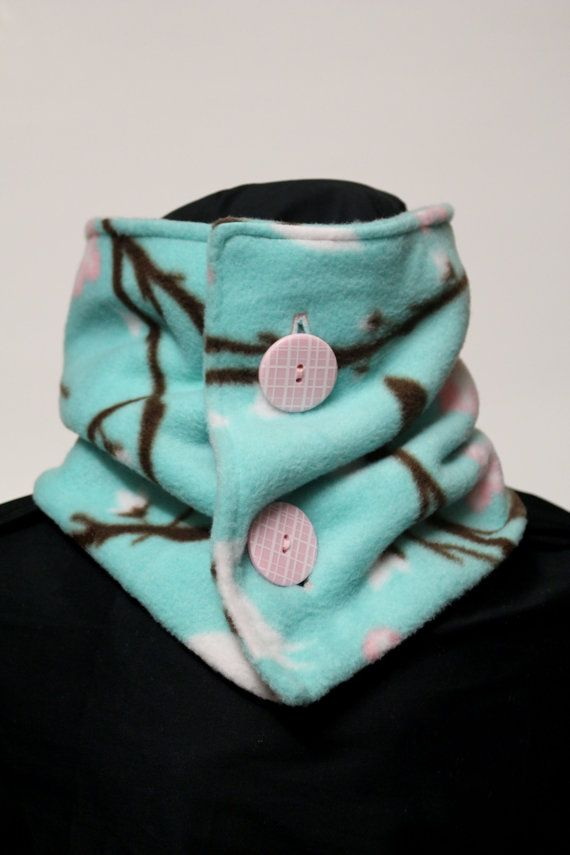 Neck Warmer Fleece Bird and Flower by TheCozyAvenue on Etsy, $14.99