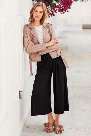 Buy Black Jersey Side Pleated Culottes from the Next UK online shop