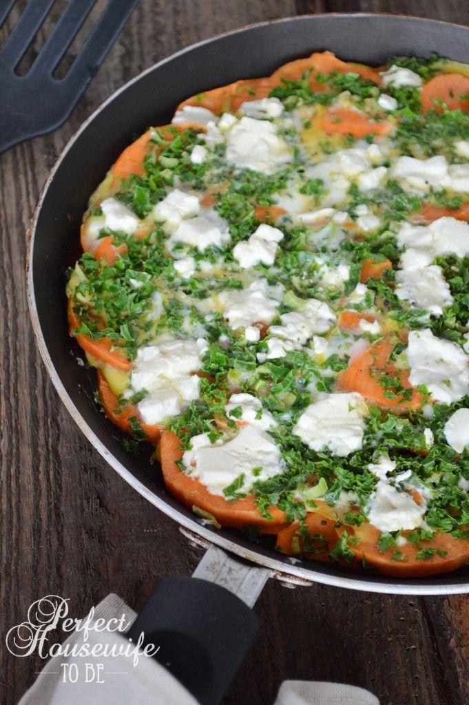 Heerlijke lunch of lichte maaltijd: zoete aardappel frittata met feta en boerenkool (glutenvrij en suikervrij) | Perfect Housewife - to be