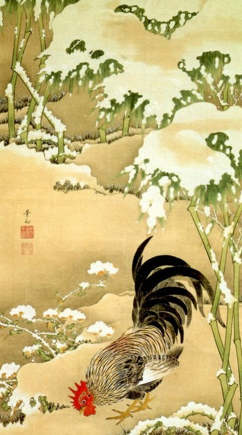 Jakuchu ITO (1716~1800), Japan 「雪中雄鶏図」