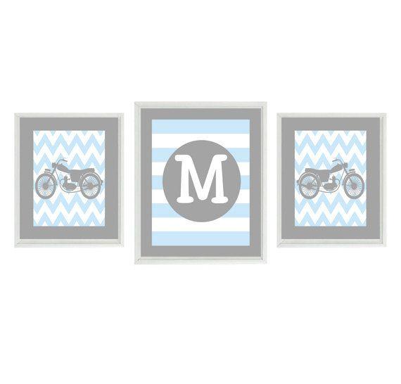 Motorcycle Nursery, Baby Boy Wall Art, Personalized Nursery Art, Gray Blue, Boy Room Decor, Chevron Motorcycle, Initial Print, Boy Prints
