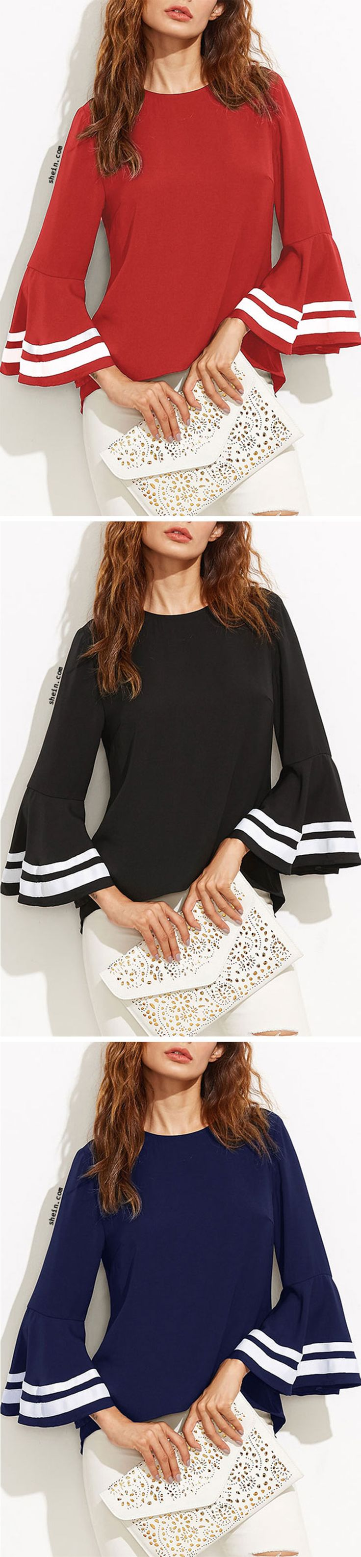 Striped Trim Bell Sleeve Keyhole Back Blouse