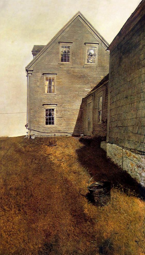 "ANDREW WYETH. ""Weather Side"". 1965. 48"" x 27.70""    Tempura master... Mind the sun on the windows - lends the illusion of a larger canvas by capitalizing only slightly on the strong midday light source."