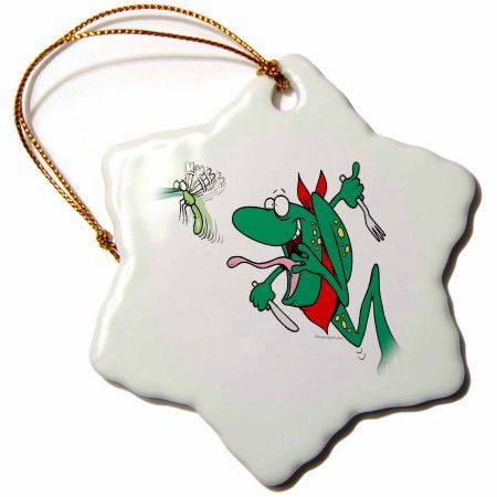3dRose Funny Hungry Frog Chasing Bug Cartoon, Snowflake Ornament, Porcelain, 3-inch