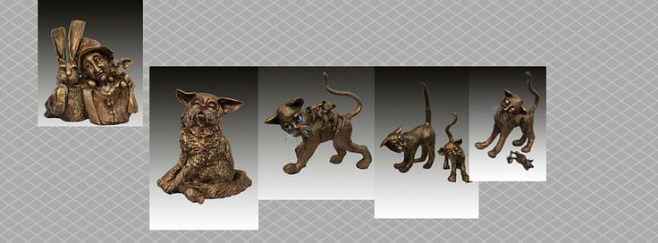 Stoneware whimsical cats plus more visit me at  Www.artdorgallery.co.uk