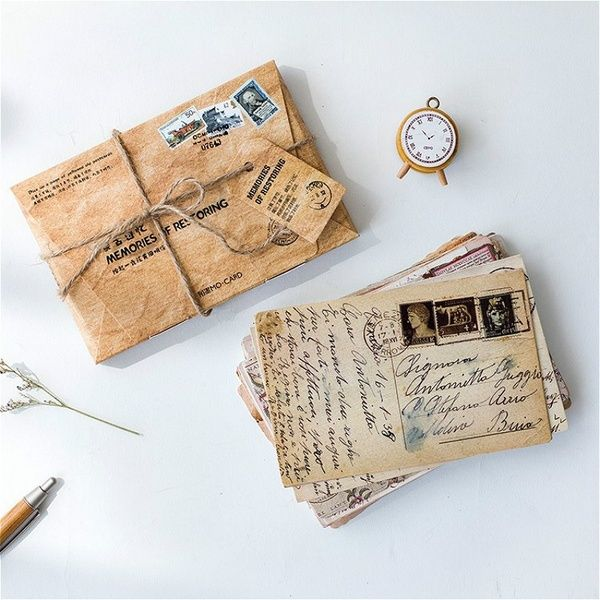 30 Pcs Set Vintage Memories Postcards Creative Greeting Card Message Card Diy Gifts Wish Diy Letter Cards Greeting Card Envelope Birthday Card Messages