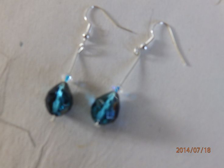 Beautiful Peacock Blue fire polished glass pear shaped beads with Swarovski crystal £5.00