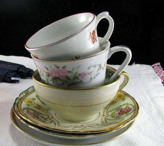 Vintage English Fine Bone China Teacups And Saucers Mix by Jjantiq