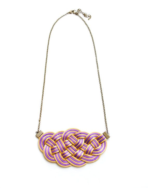 SALE Purple and Gold Sailor's Knot Necklace Satin by elfinadesign