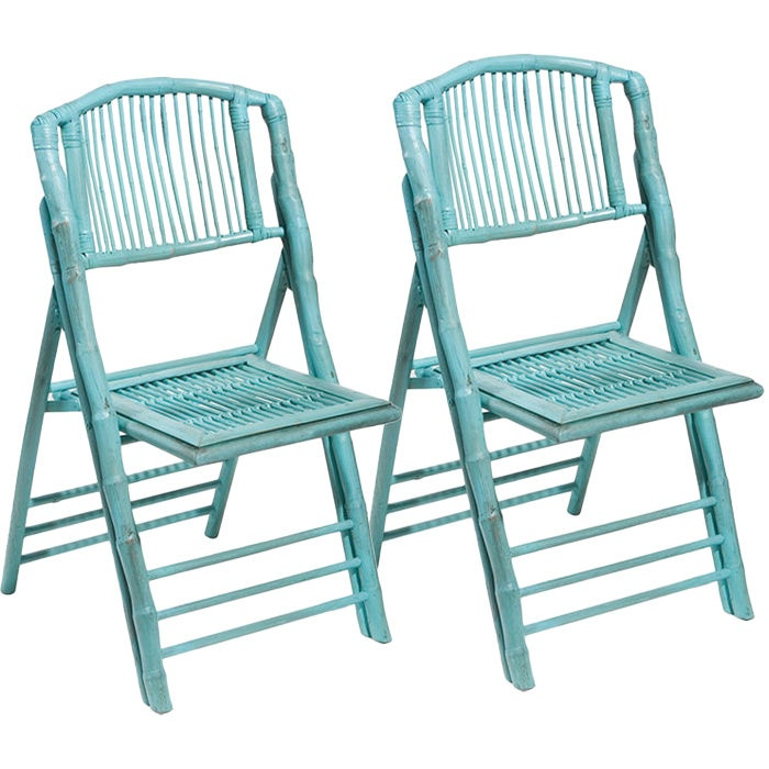 Coastal Chic Folding Chair In Antique Turquoise
