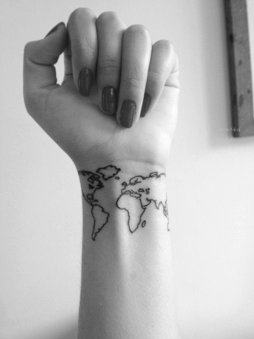 """I want this also saying, """"Everywhere is my native land, everyone my native people."""" And maybe a heart on England, UK & Idaho, US."""