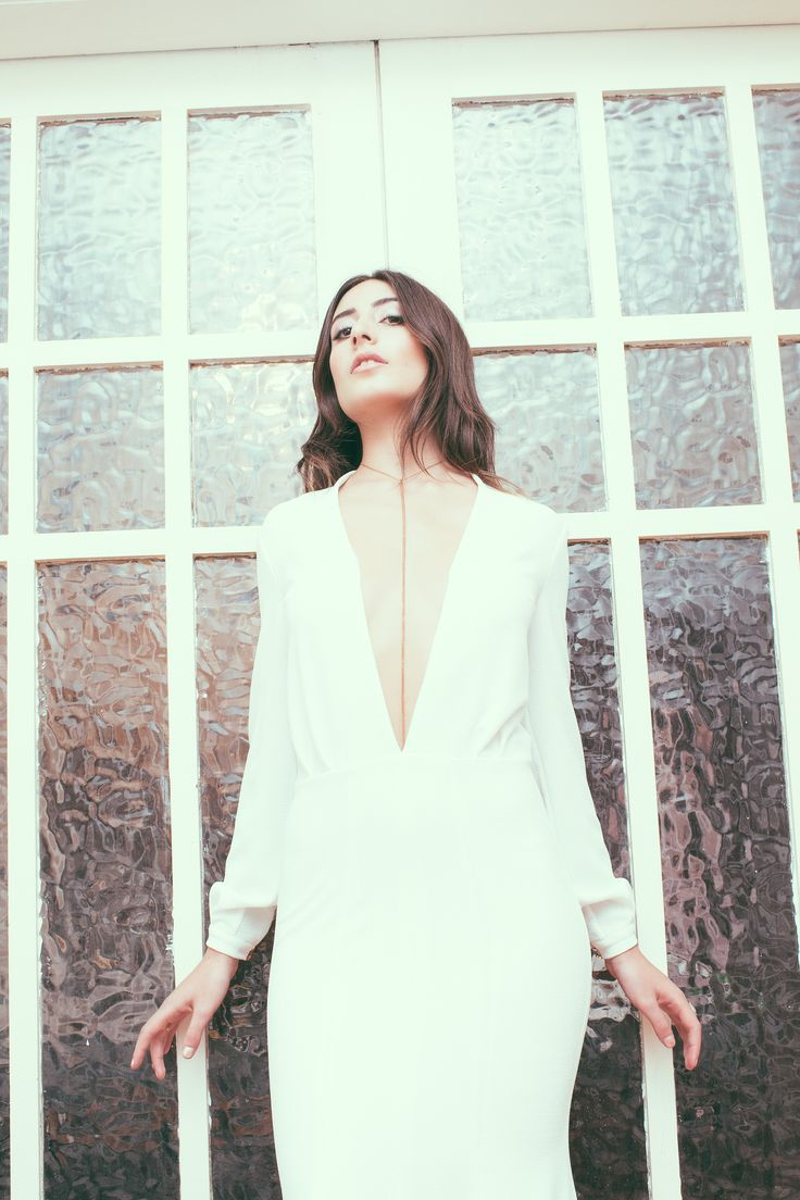 EZE' GOWN minimal bridal gown, sexy wedding dress, edgy wedding dress, V neck bridal, gorgeous wedding dress
