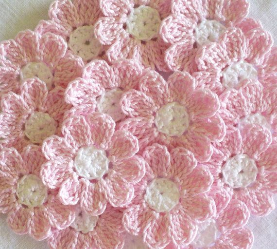 Pink and White Crochet Flowers, 12 Small Handmade Appliques, baby shower supplies