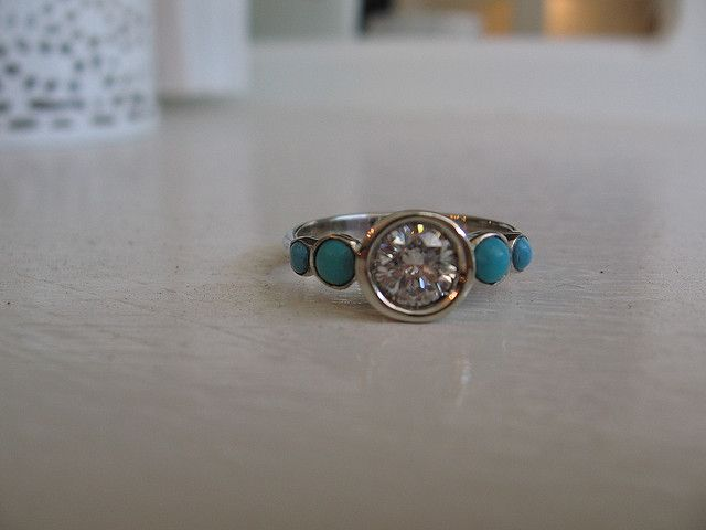 diamond & turquoise engagement ring!