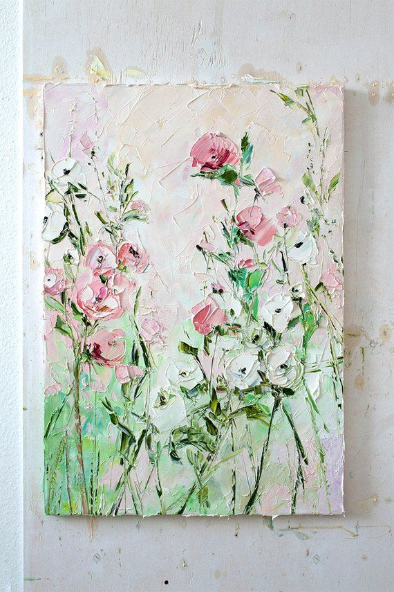 399ee98c6f Coral Pink White Green Painting Oil Flower Colorful Floral Landscape Large  Wall Art Dusky Dusty Pale