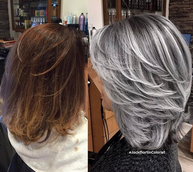 WEBSTA @ jackmartincolorist - Silver smoke used the amazing new guy tang mydentity color line. Formulation: I pre lighten the hair one inch away from roots with big9 cream lightner and 40 vol mixed with olaplex ( great lightner, powerful but very gentle on the hair ), then same formula with 20 vol on roots for a total time of 100 minutes to a very light pale blonde level 11. Wash, dry and applied second formula, 3/4 10ss 1/4 10sp with 6 vol applied as foil balayage, then second formula ...