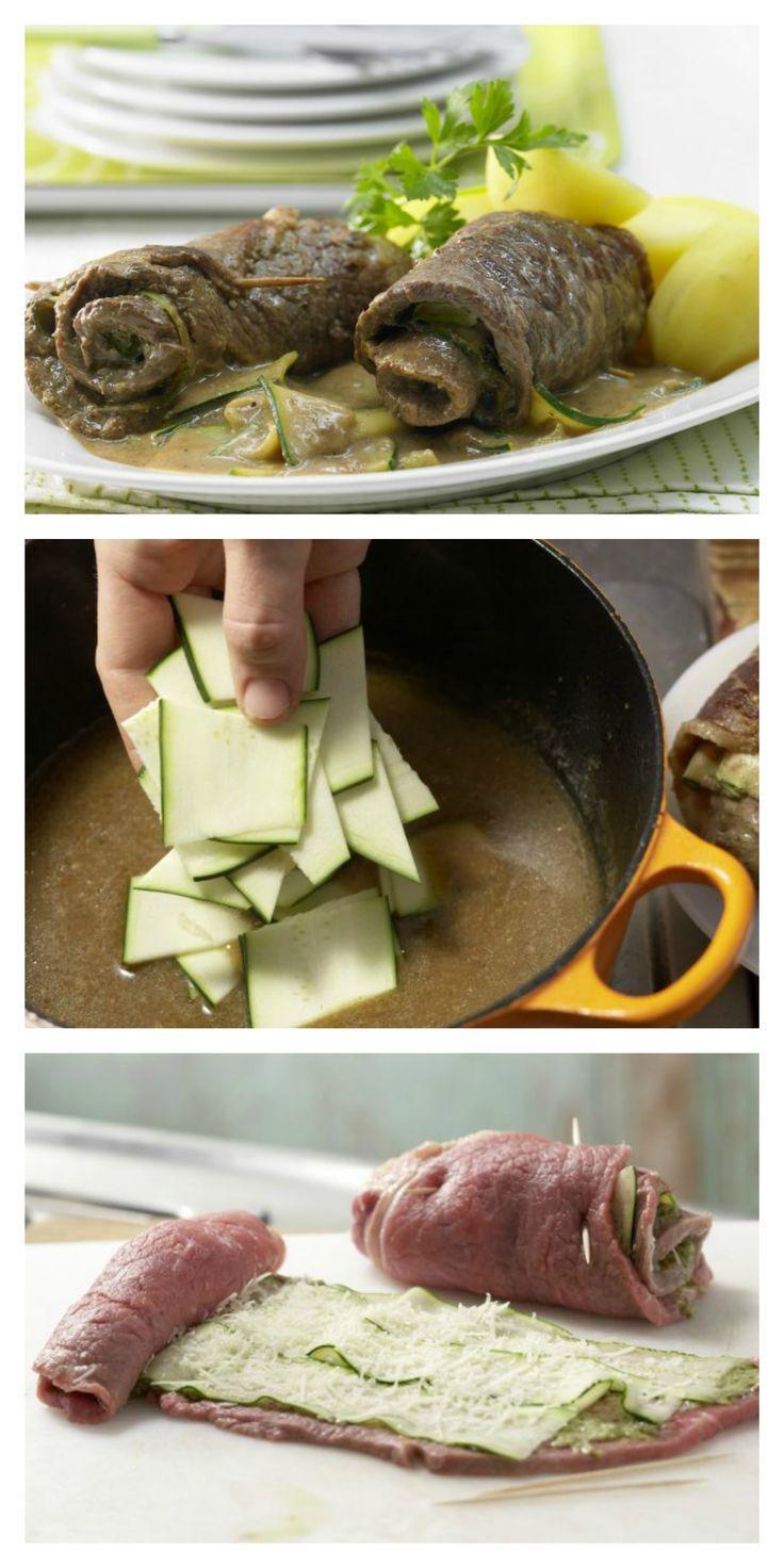 Der von vielen heiß geliebte Klassiker in mediterranem Gewand: Rouladen mit Zucchinifüllung Familienessen (2 Erw. und 2 Kinder) | http://eatsmarter.de/rezepte/rouladen-zucchinifuellung