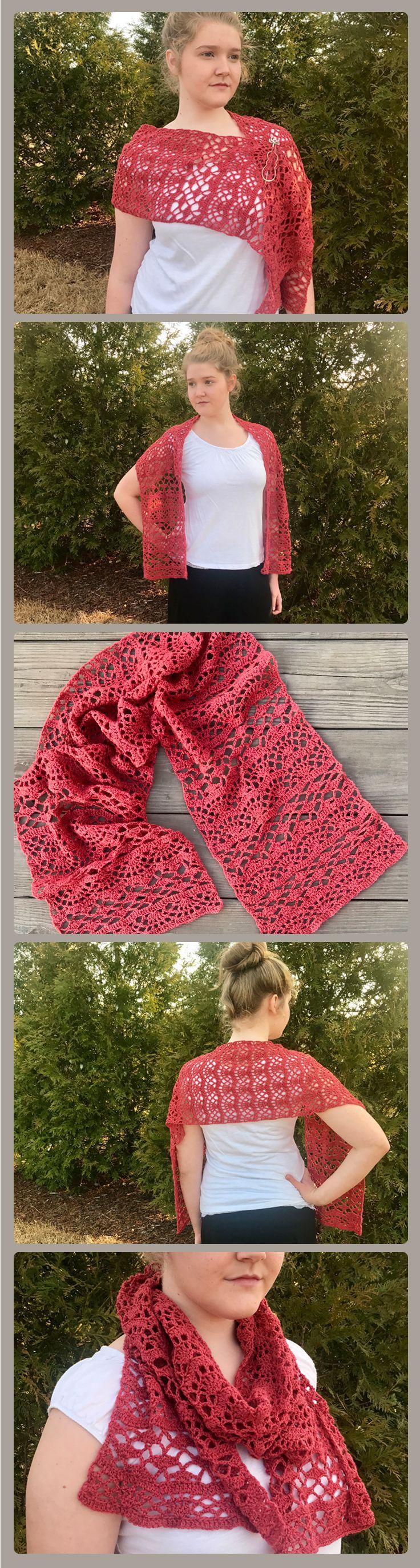 One Love Shawl crochet pattern - a one skein project crochet shawl pattern - a lacy shawl made with fingering weight yarn.
