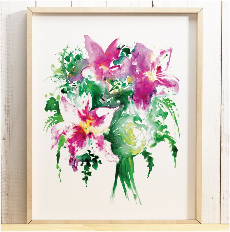 £12.99 Watercolour Abstract colourful Lily flower bouquet illustration inky art print painting pink purple floral pretty poster A4 A3 A2 ANY SIZE
