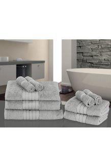9 toalhas de algodão egípcio<BR>500 g/m² - Cinza