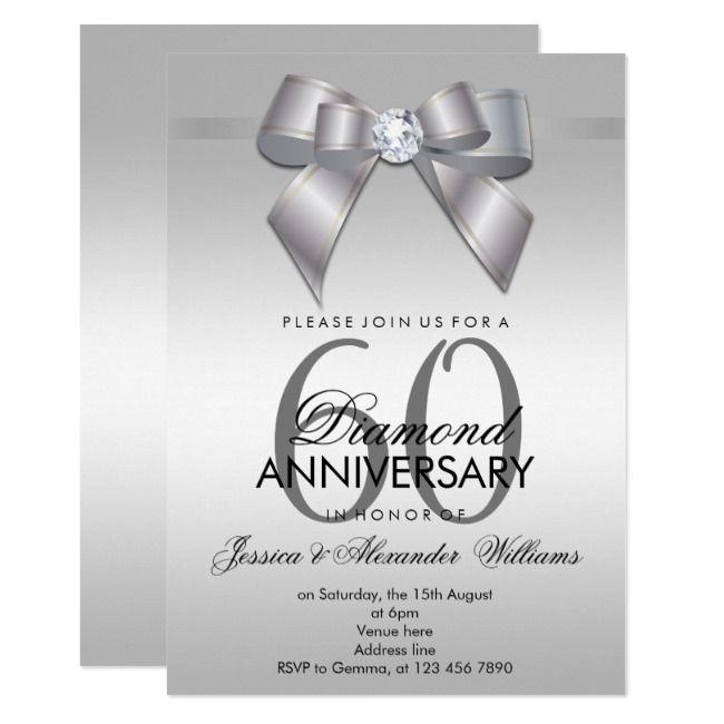 posh gem bow  ribbon 60th wedding anniversary invitation