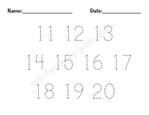 11 20 Number Trace Worksheet Pdf Printable Tracing