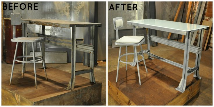 Forgotten work desk refurbished with silver paint. See more Flea Market Flip makeovers here> http://www.greatamericancountry.com/shows/flea-market-flip/lara-spencers-quick-flea-market-flip-tips-pictures?soc=pinterest