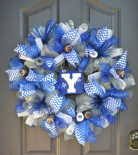 BYU Football Wreath by WhimzyWreathCreation on Etsy, $65.00
