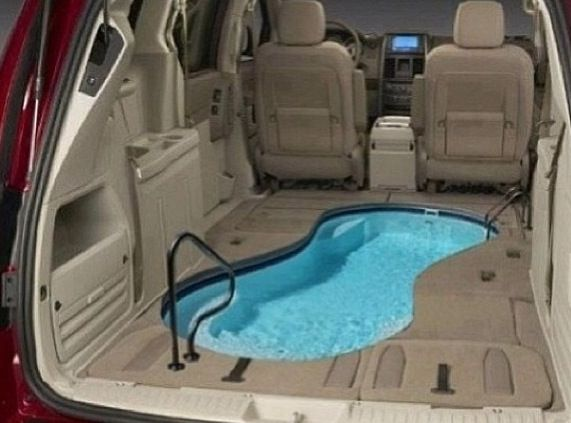Have a pool in a car another thing to persauid dad into doing oh well I'll just use puppy eyes