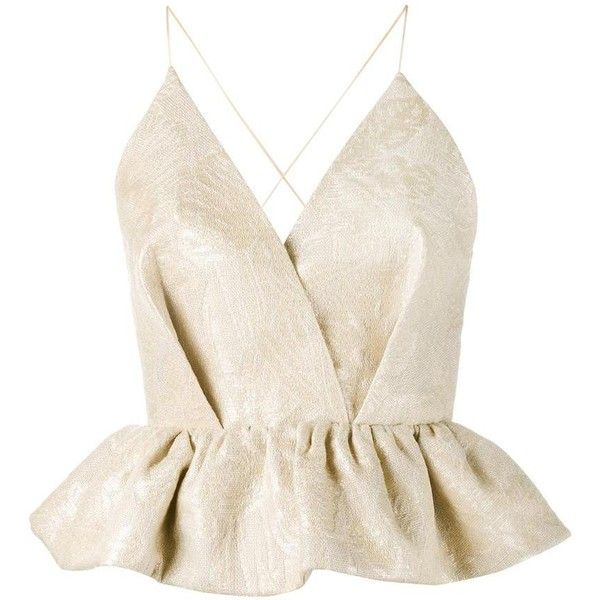 Delpozo Delpozo Sleeveless Tutu Hem Blouse (33 570 UAH) ❤ liked on Polyvore featuring tops, blouses, shirts, flutter-sleeve top, frilly blouse, ruffle top, sleeveless tops and sleeveless v neck blouse