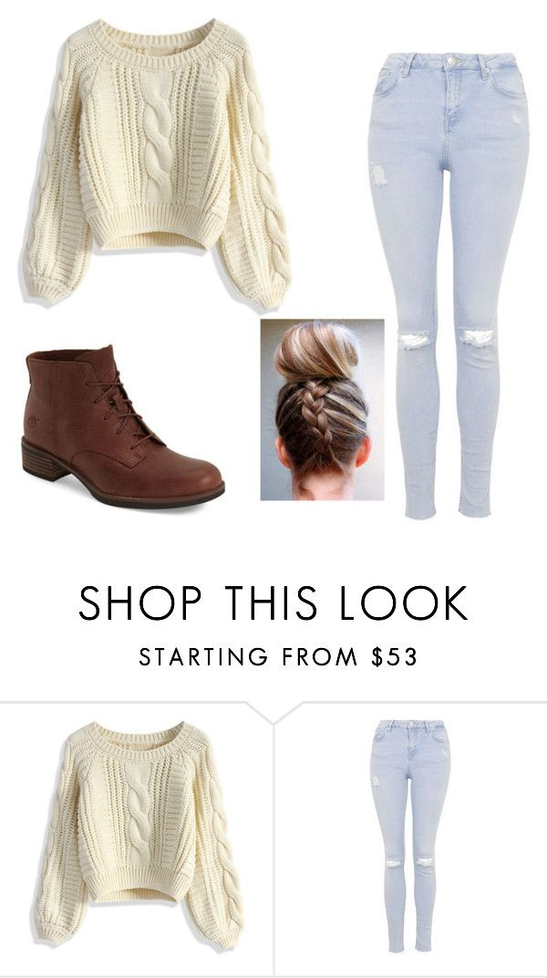 """""""Fall/Spring Outfit🌷"""" by kylieirwin11 ❤ liked on Polyvore featuring Chicwish, Topshop and Timberland"""