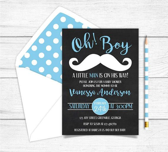 Baby Shower Invitation Little Man Printable Baby Shower