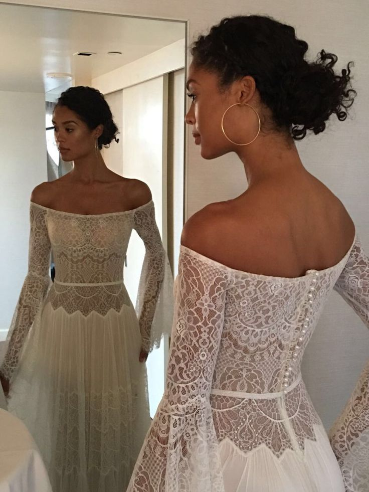 simone off the shoulder long sleeves with vintage lace wedding dress flora bridal new york