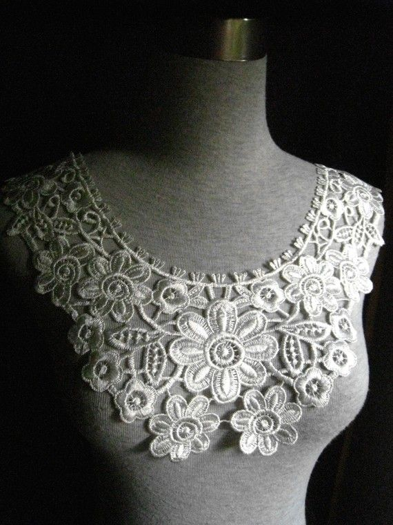 White Lace Applique Collar for Custom dress,Wedding gift or Embellish…