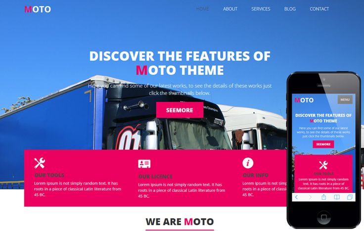 Moto - A Transportation Oriented Theme. A Free Bootstrap Themes & Templates, Free Ecommerce Themes, Free Full Site Themes, Free Landing Page Themes on Bootstrap Stage.
