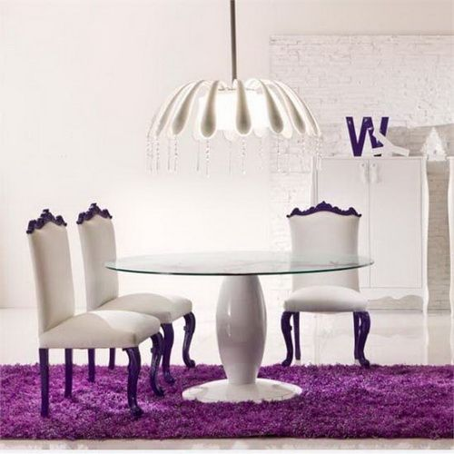 Marvelous Colorful Dining Room Design White With Purple Rug Beeboats