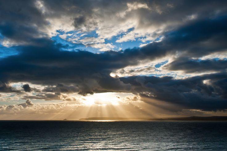 Sun Rays over Godrevy by Gary Swann.  #Sky