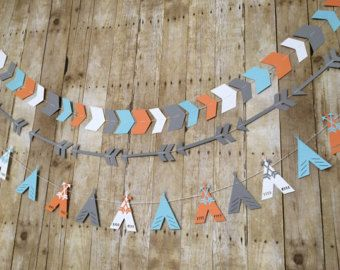 These tribal garlands are perfect for a birthday party, nursery or any room décor! **Please see shop announcement for current processing time!** --» Made with 100 lb. high quality cardstock so the shapes are sturdy! --» Hand sewn so you can adjust the distance between the shapes however you'd like. THIS LISTING INCLUDES 3 (THREE) BANNERS! ----» OPTIONS «---- » 8 feet ----» will have 1 chevron arrow banner with 32 Chevron arrows .........................will have 1 Long arrow banner with 10…