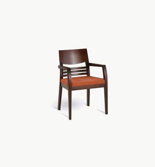 Karmstol med stoppad sits, många tyger samt träbets att välja på. Ingår i en serie med vanlig stol samt barstol. Vikt 7,5 kg. Säljs i 2pack (2st). Pris anges (1st). Levereras monterad.  Tyg Lido, 100 % polyester, brandklassad. Tyg Luxury, 100 % polyester, brandklassad. Konstläder Pisa, brandklassad, 88,5% PVC, 11,5% polyester.
