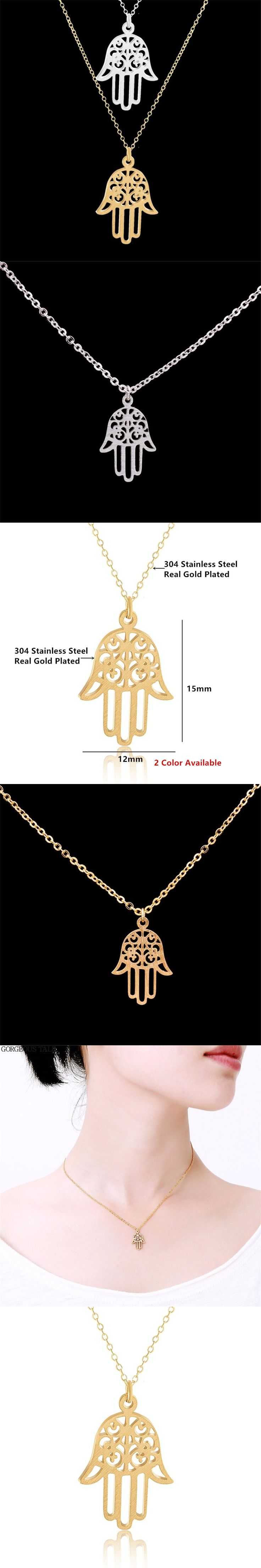 GORGEOUS TALE Luck Protection Fatima Hand Evil Eye Pendant Necklace For Women Stainless steel Jewelry Gold Bohemian Chokers