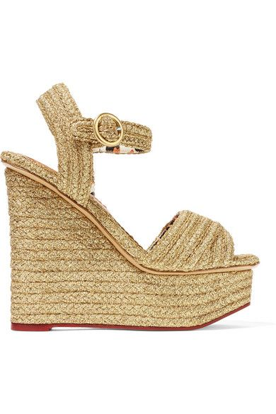 Wedge heel measures approximately 130mm/ 5 inches with a 45mm/ 2 inch platform Gold raffia Buckle-fastening ankle strap Made in Italy