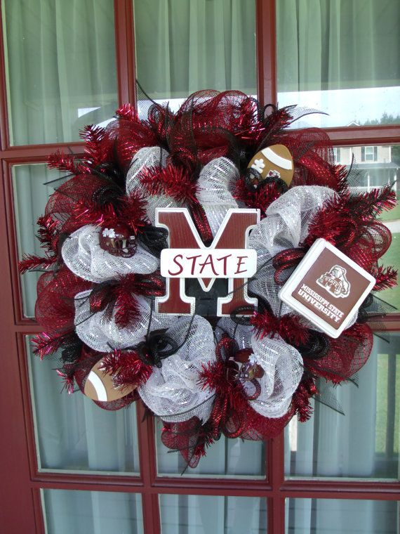 Mississippi State Bulldogs Deco Mesh Wreath by CrazyboutDeco, $89.00