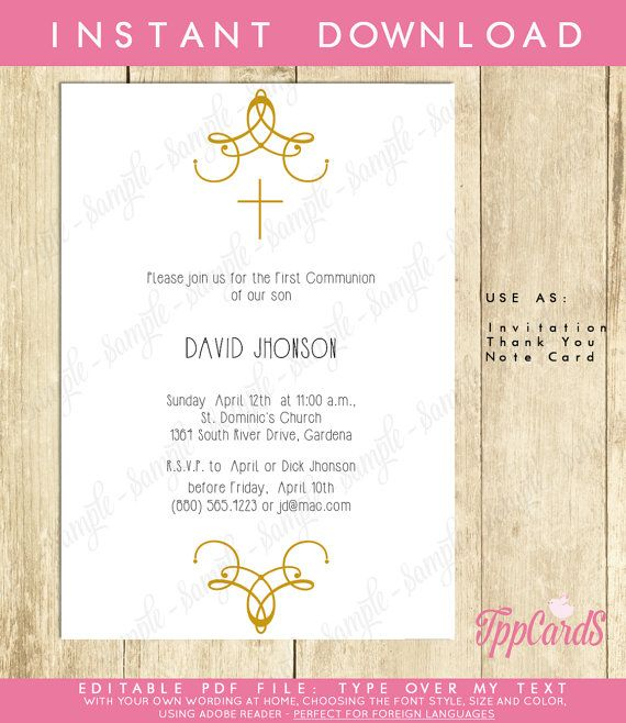 Instant Download 4x6 Gold Cross Baptism InvitationsDIY Editable PdfFirst Communion Invite Decorated Cross Confirmation Invites AUTOFILL by TppCardS #tppcards