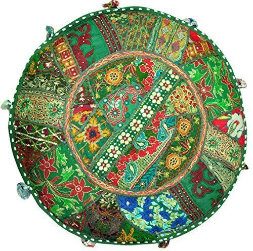 "18"" Bohemian Meditation Patchwork Round Floor Pillow Cover Throw Cushion Cover #Handmade #Traditional #CushionCoverPillowCoverFloorCover"