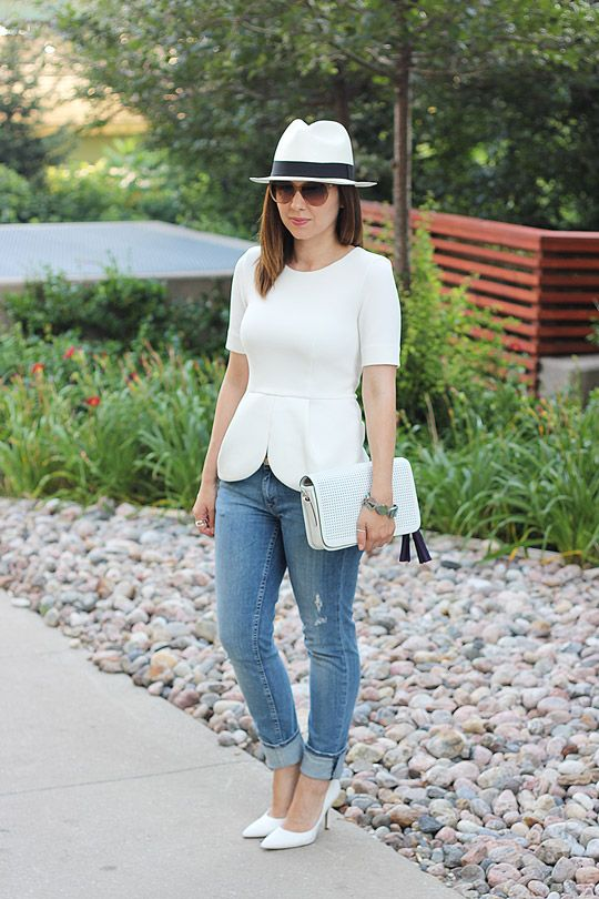 Coach White Perforated Leather Penelope Crossbody Bag, H Peplum Top, Nine West White Heels, J.Crew Panama Hat, Distressed Jeans