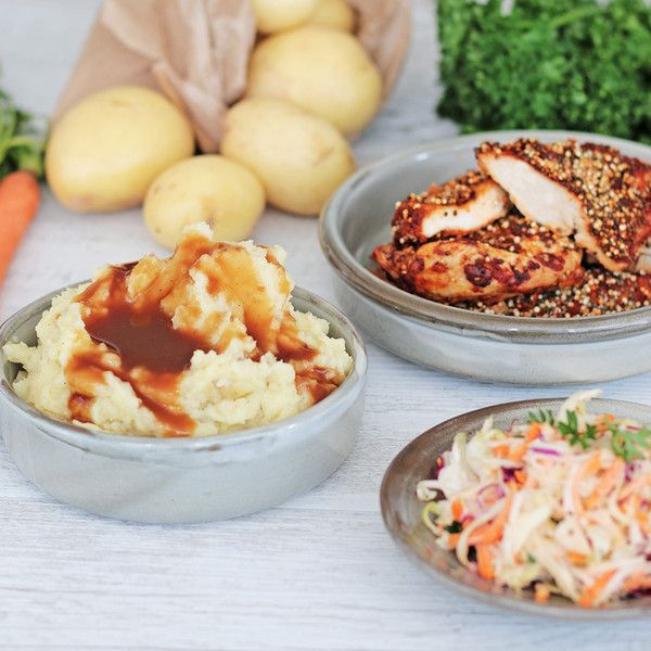 YouFoodz   YFC with Potato Gravy & Coleslaw $9.95   Tasty chia & quinoa crusted chicken breast, baked to perfection with our own YF herbs & spices   #Youfoodz #HomeDelivery #YoullNeverEatFrozenAgain