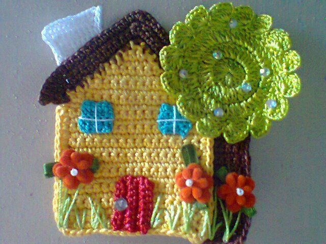 Crochet house and tree